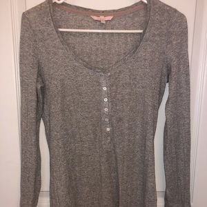Victoria's Secret Henley tee gray with silver XS